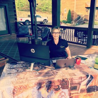Shelley taking advantage of a beautiful spring day to #workfromhome on her deck! #High5Life #WFH #thisishowwedoit